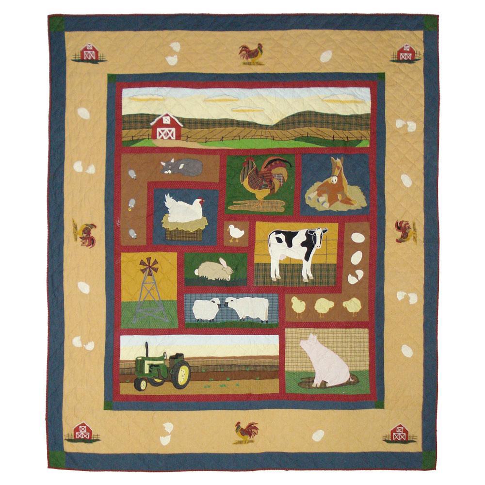 """Barnyard Animals Twin Quilt 65""""W x 85""""L"""