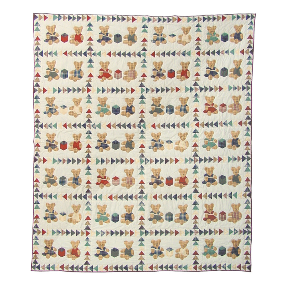 "Brown Bear Twin Quilt 65""W x 85""L"