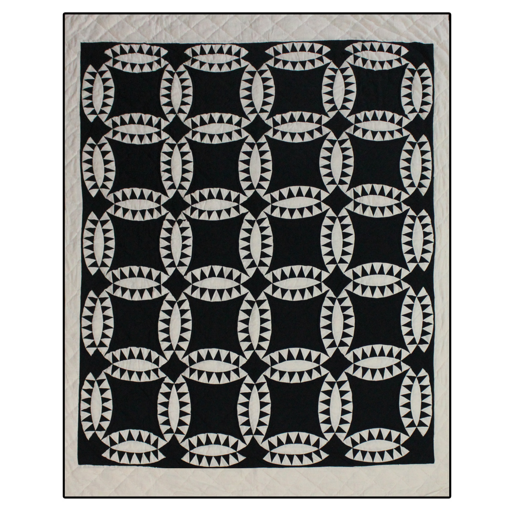 """Black and white Wedding Ring Twin Quilt 65""""W x 85""""L"""