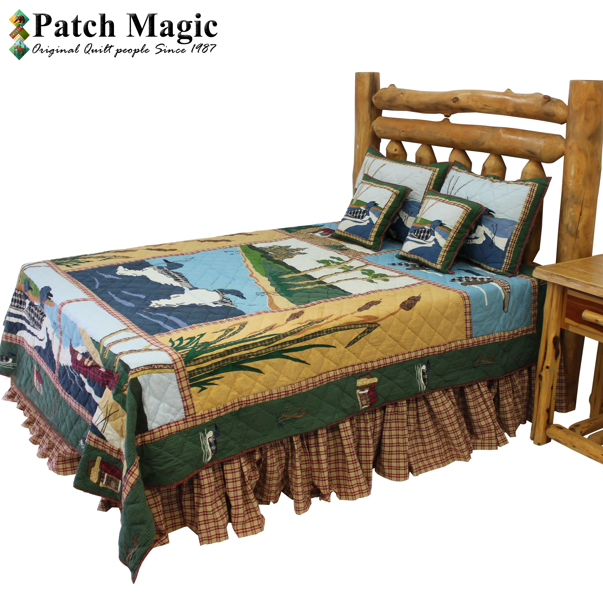 """Common Loon Echo Twin Quilt 65""""W x 85""""L"""