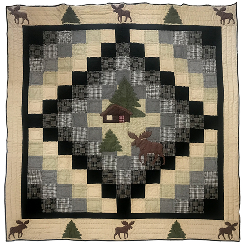 "Moose Cabin Twin Quilt 65""W x 85""L"