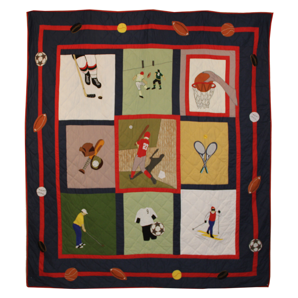 """Play to Win Twin Quilt 65""""W x 85""""L"""
