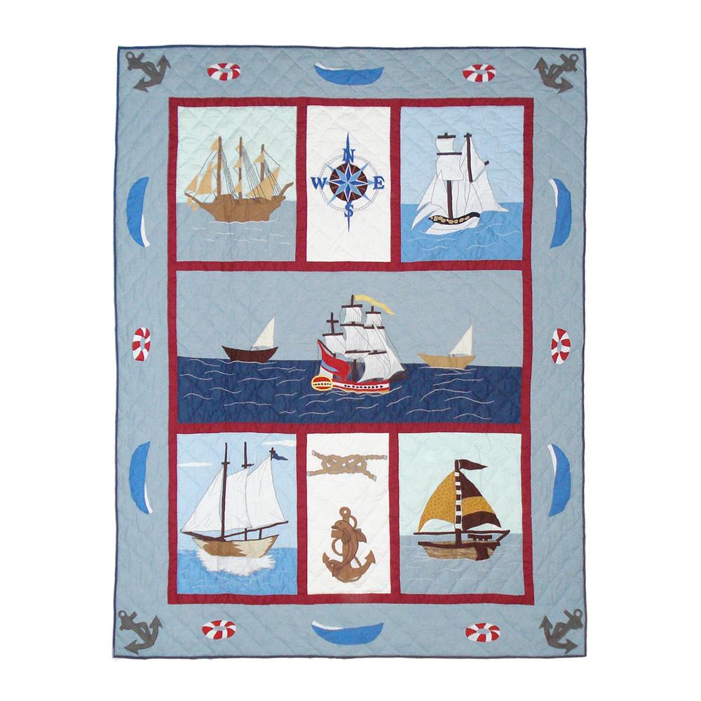 "Ships Ahoy Twin Quilt 65""W x 85""L"