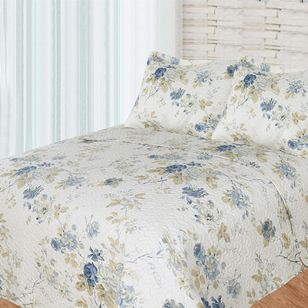 Blue Roses Super Queen Bed in a Bag Set of 4 Pieces