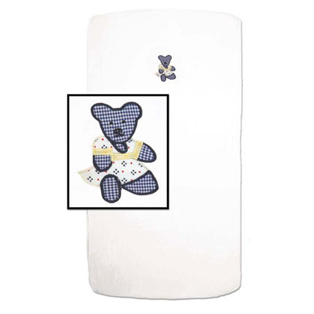 """Blue Teddy Bear Crib Sheet 28""""W x 53""""L"""
