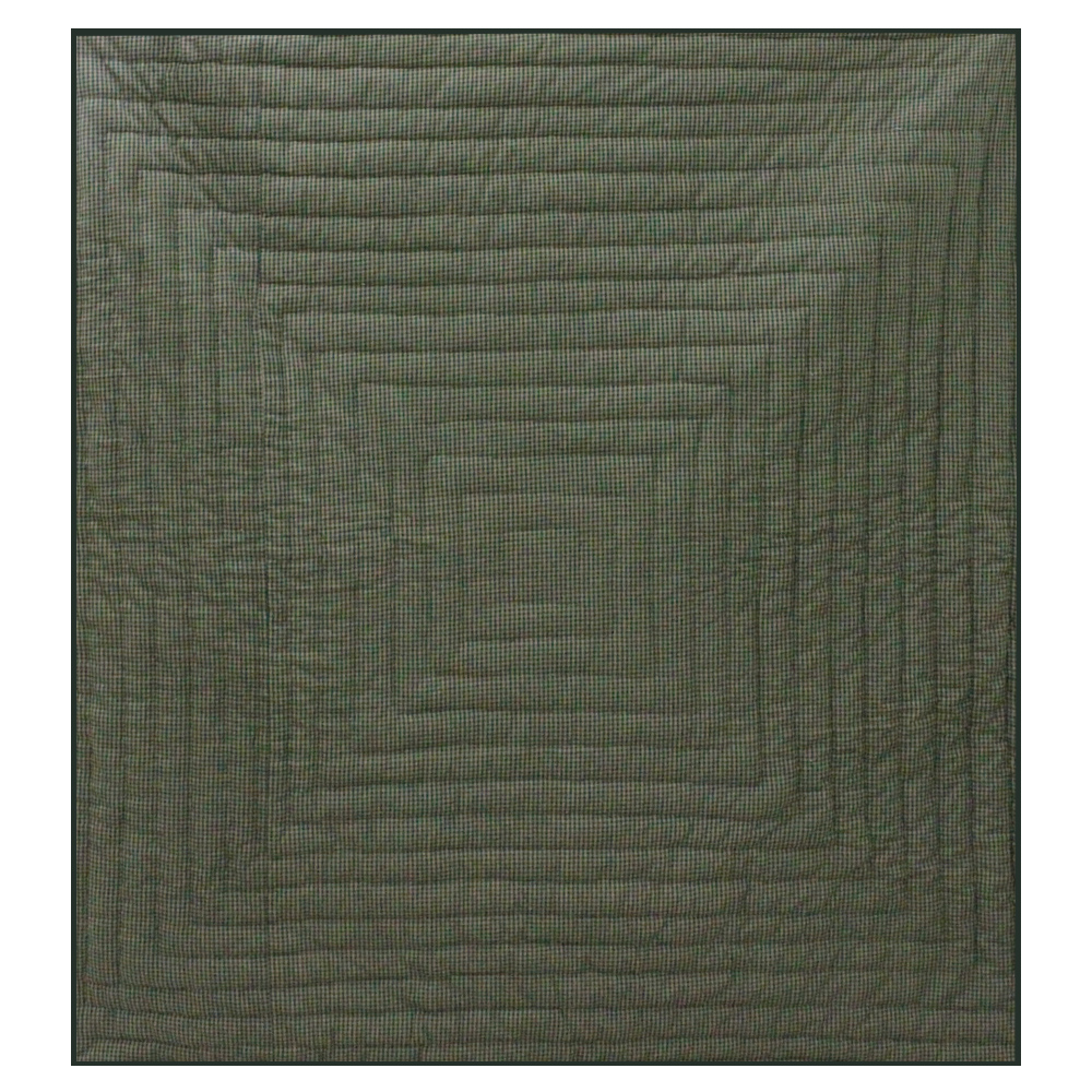 "Hunter Green and Tan Check Super King Quilt 110""W x 96""L"