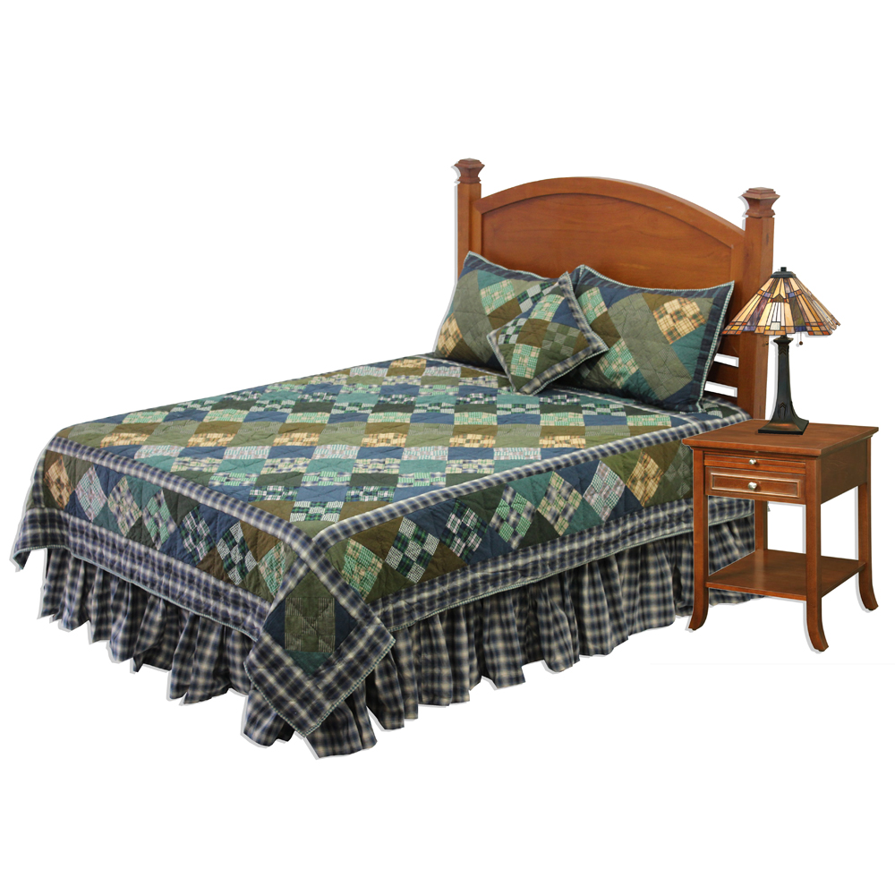 """Chambray Nine Patch Super King Quilt 110""""W x 96""""L"""