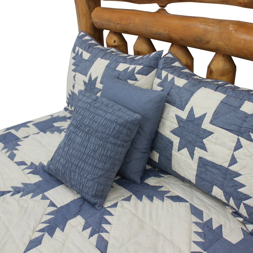 "Denim Feathered Star Super King Quilt 110""W x 96""L"