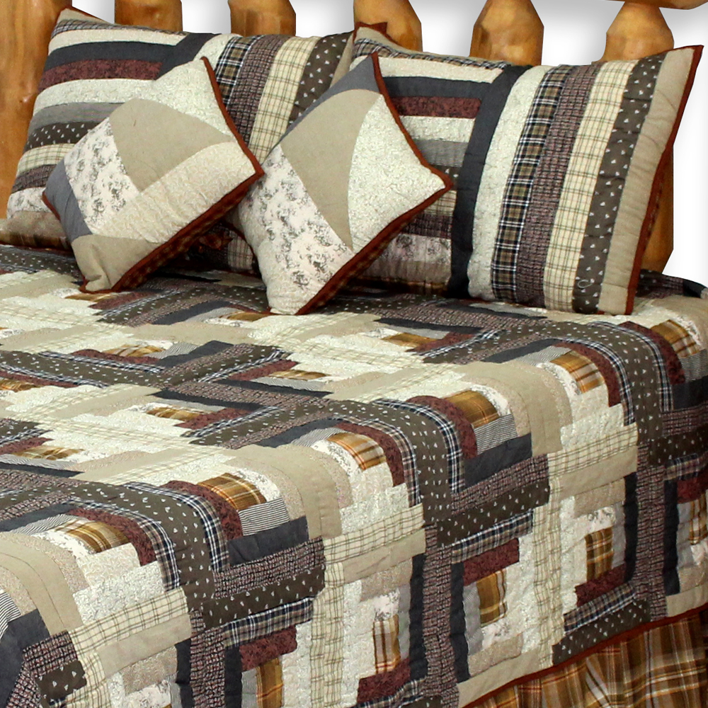 "Express Log Cabin Super King Quilt 110""W x 96""L"