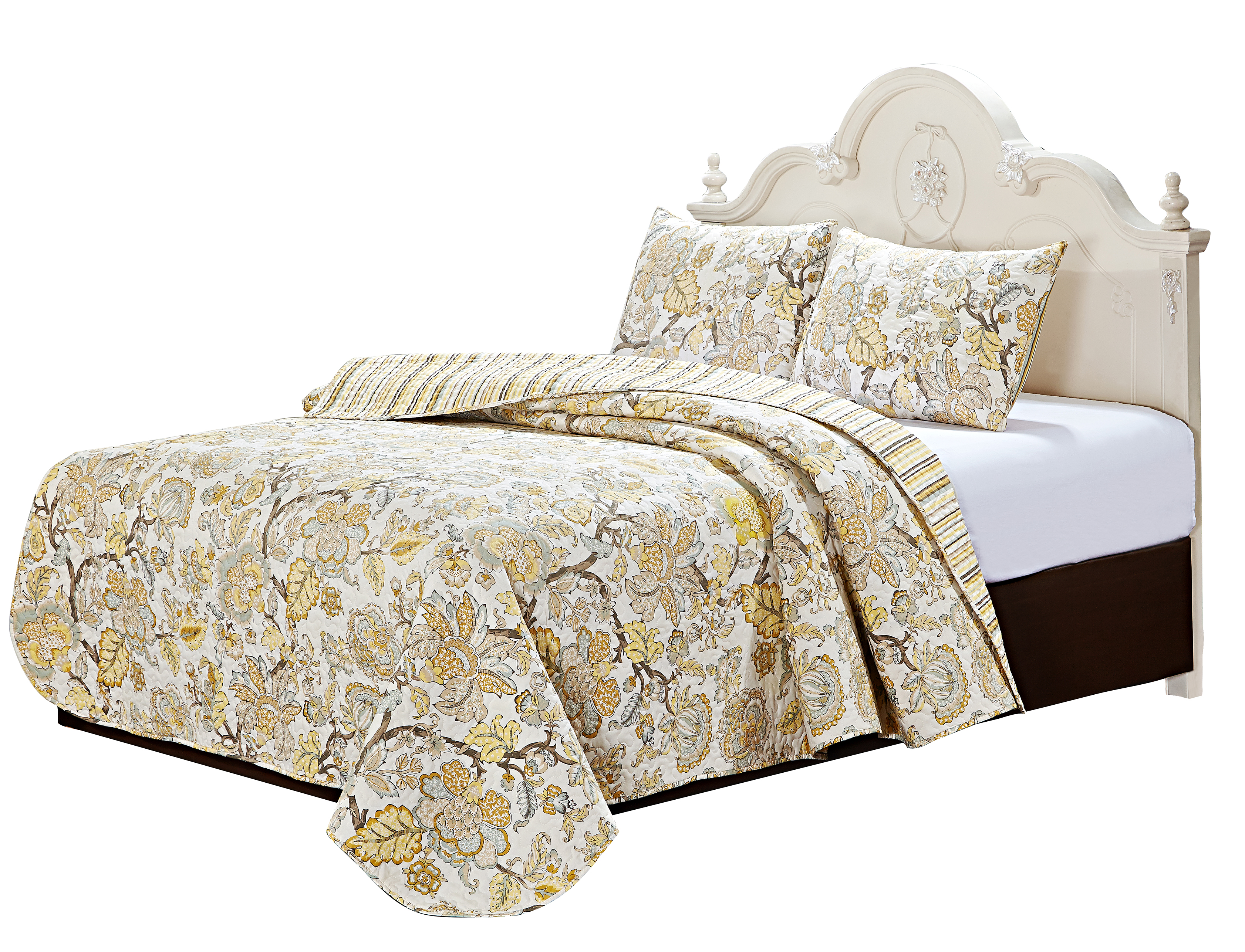 "Harvest Gold 4 Piece Set Super King-103"" x 111"", 3-Standard Pillow Shams"