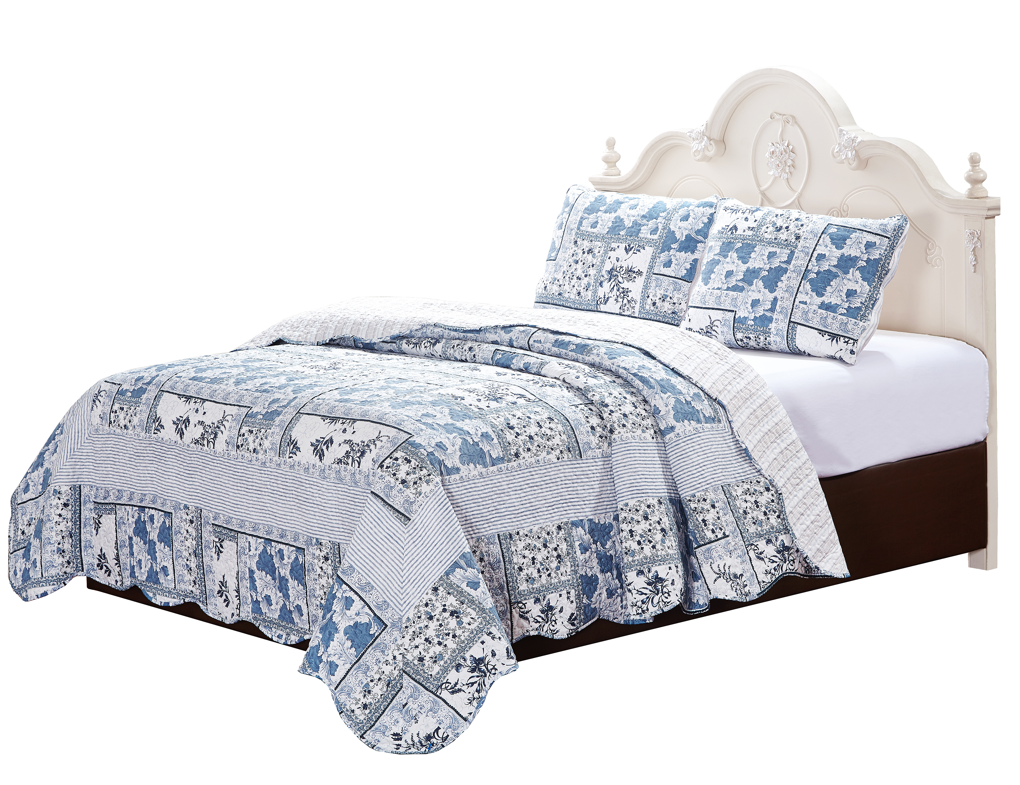 "Faience Blues 3 piece set,super queen-92""w x 96""l, 2-standard pillow shams"