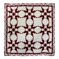 "Ruby Feathered Star Super King Quilt 110""W x 96""L"