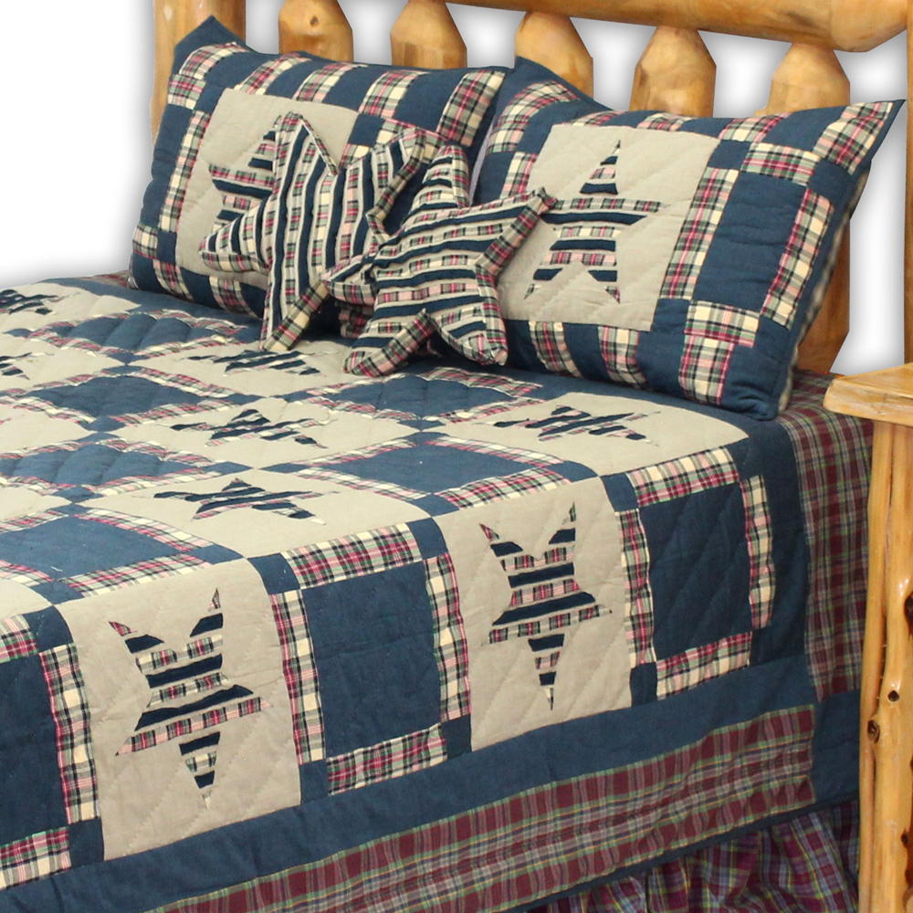 "Tartan Star super king quilt 110""W x 96""L"