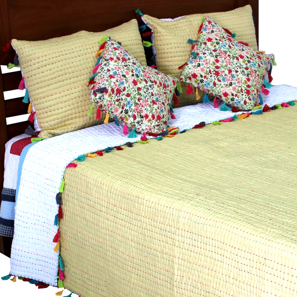 "Tassled Kantha super king quilt 110""w x 96""l"