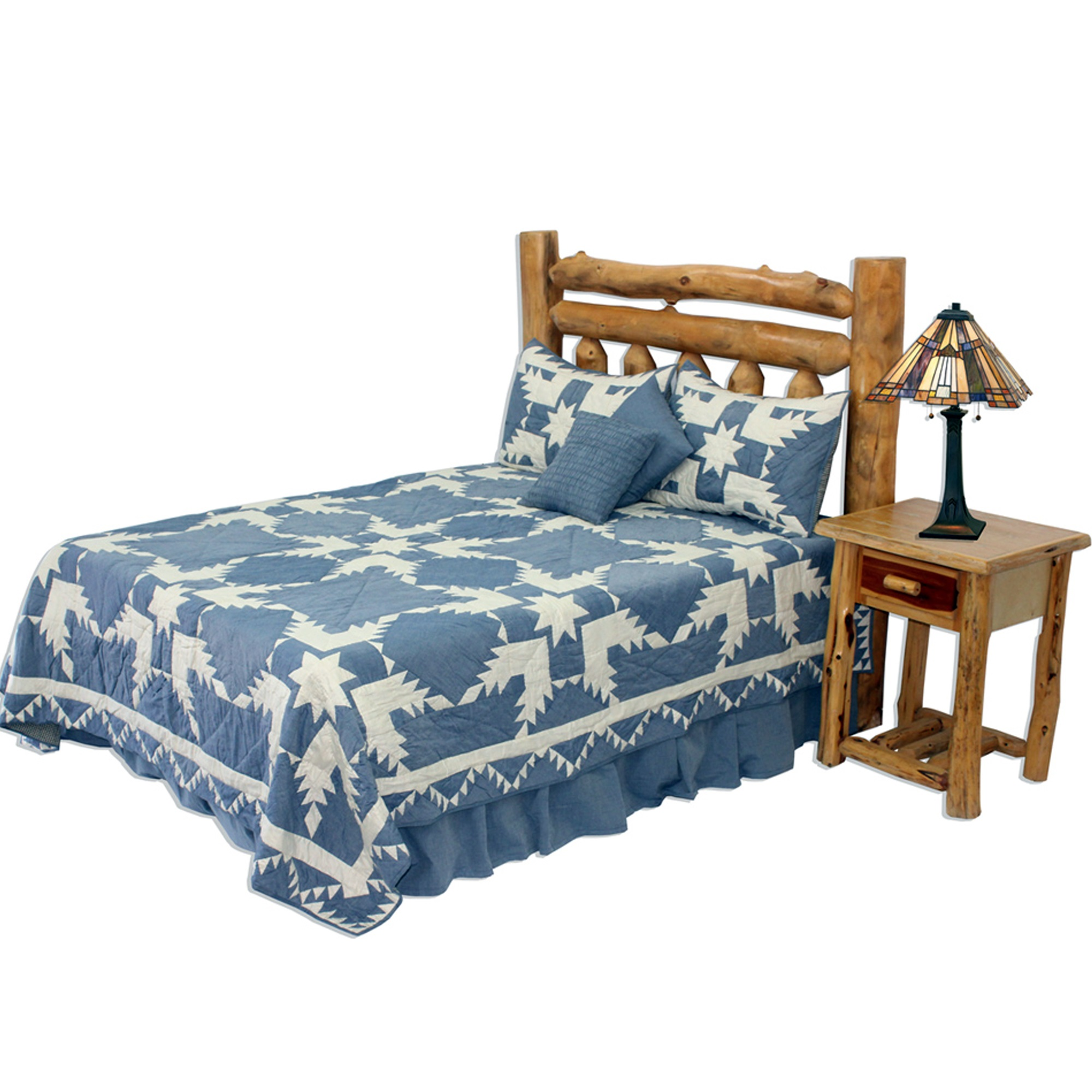 "Denim Feathered Star Super Queen Quilt 92""W x 96""L"