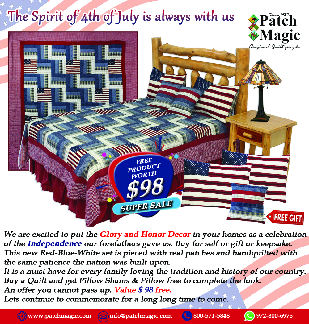 """Glory and Honour Super Queen Quilt 92""""W x 96""""L With a Shams & Pillow Free!!!!!!"""