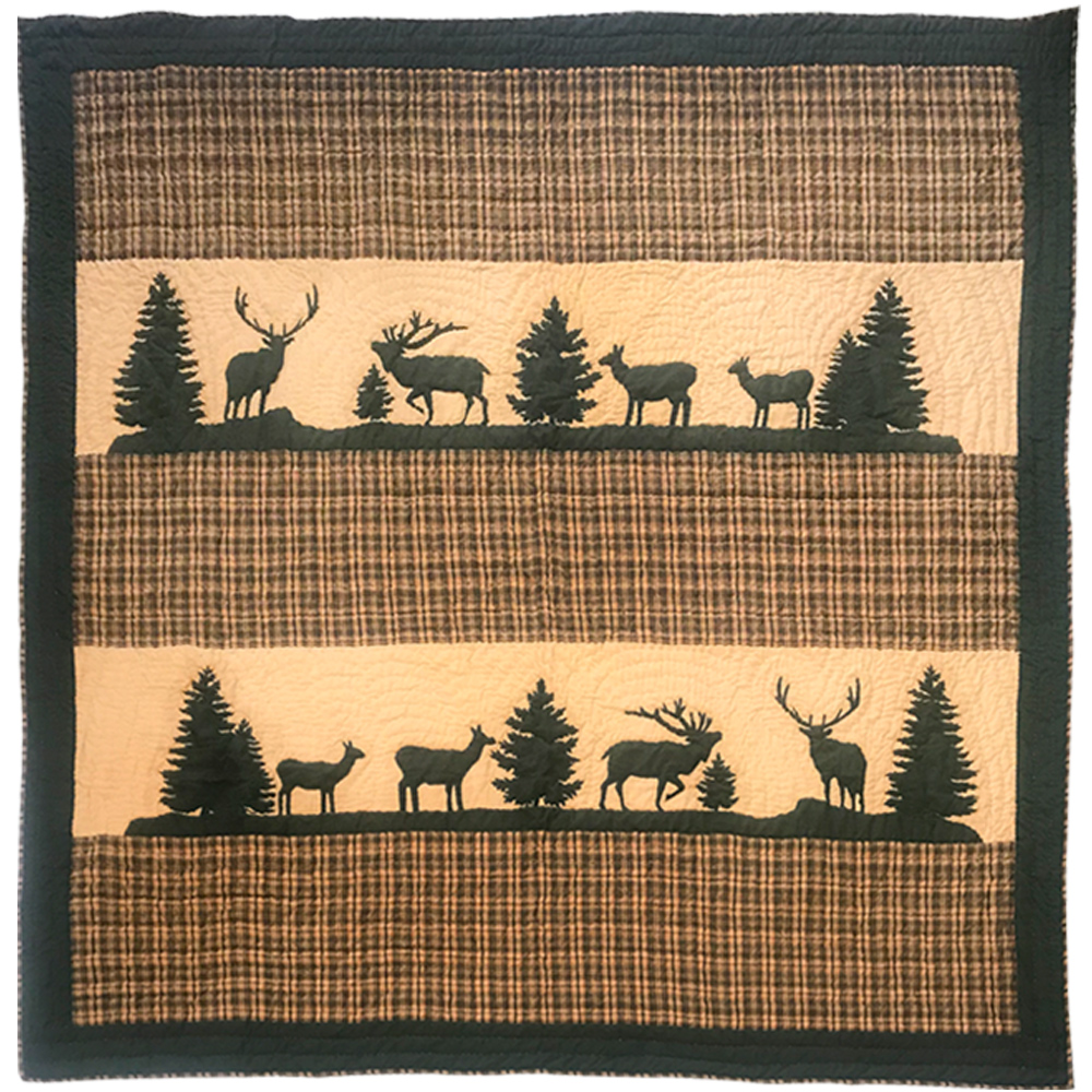 "Rocky Mountain Elk Super Queen Quilt 92""W x 96""L"