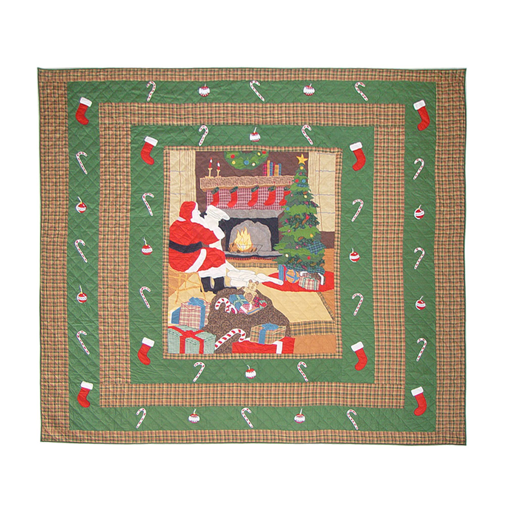 "Santa by the Fireside super queen quilt 92""w x 96""l"