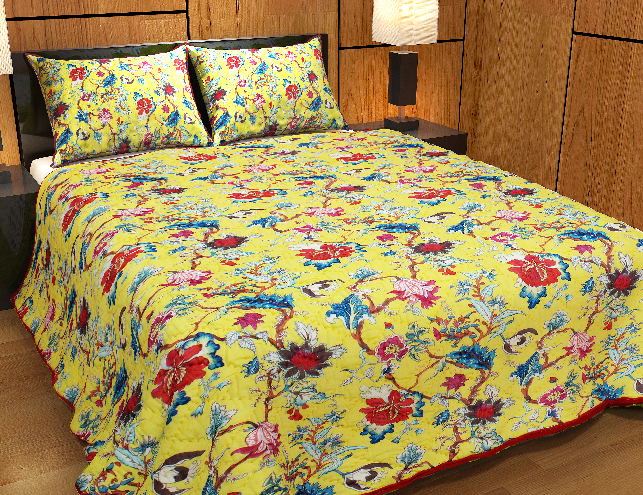 """Yellow French Swathe Super Queen Quilt 92""""W x 96""""L"""