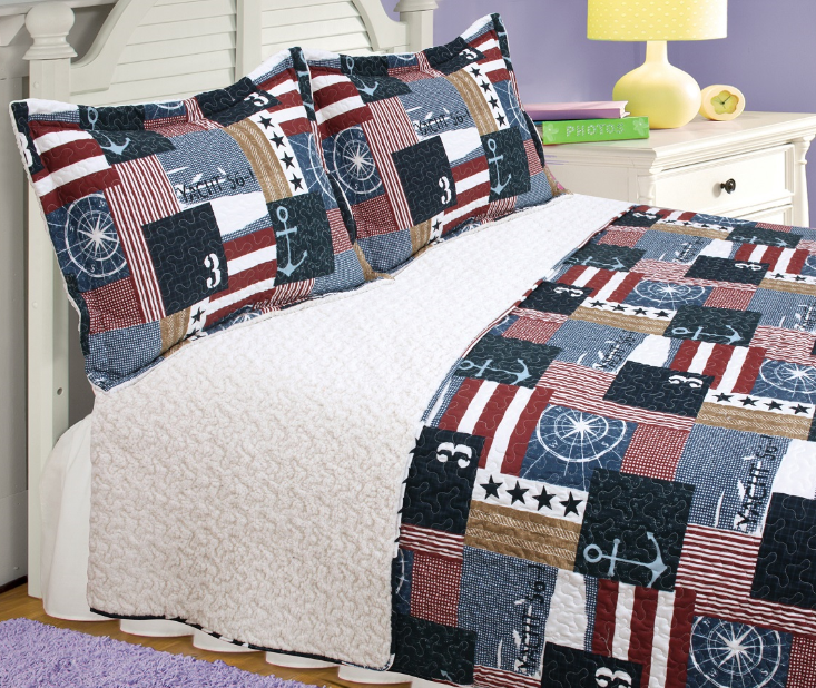 """For the Admiral 3 piece set, full/twin-75""""x90"""", 2-standard pillow shams"""