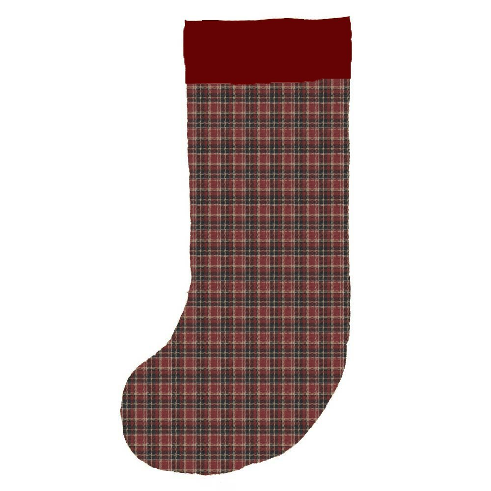 "Burgundy & black plaid Stocking 8""W x 21""L"