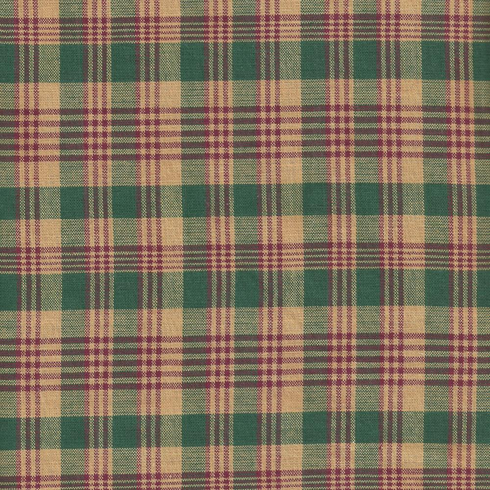 """Green and Warm Brown Plaid Fabric Swatch 4"""" x 4"""""""