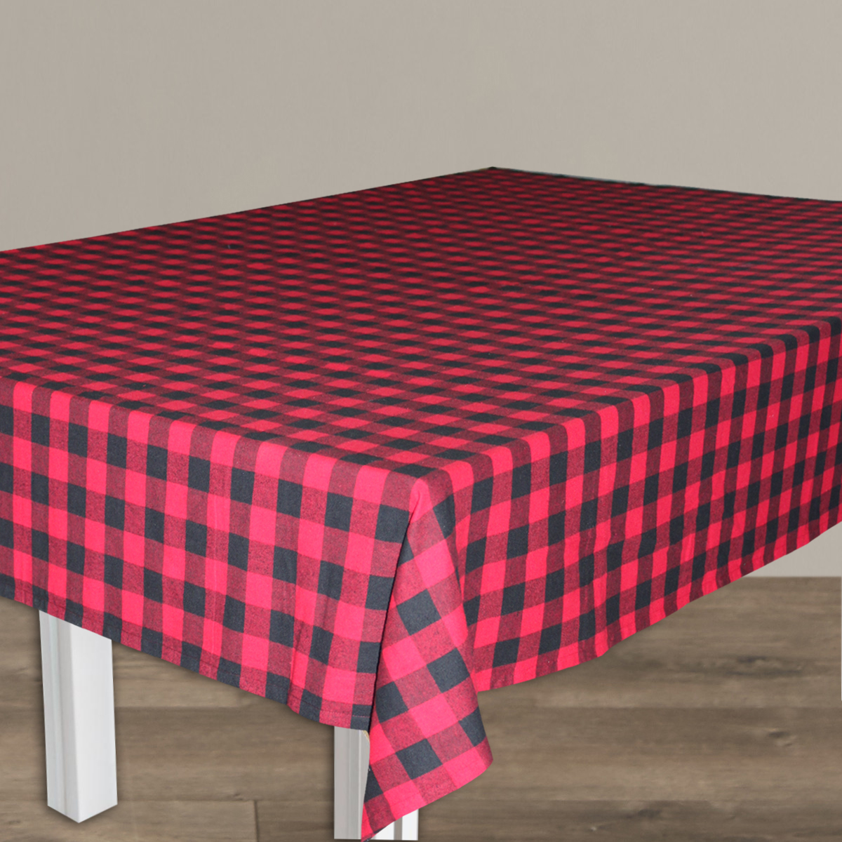 "Red and Black Buffalo Check Table Cloth (6 Place) 52""x70"""