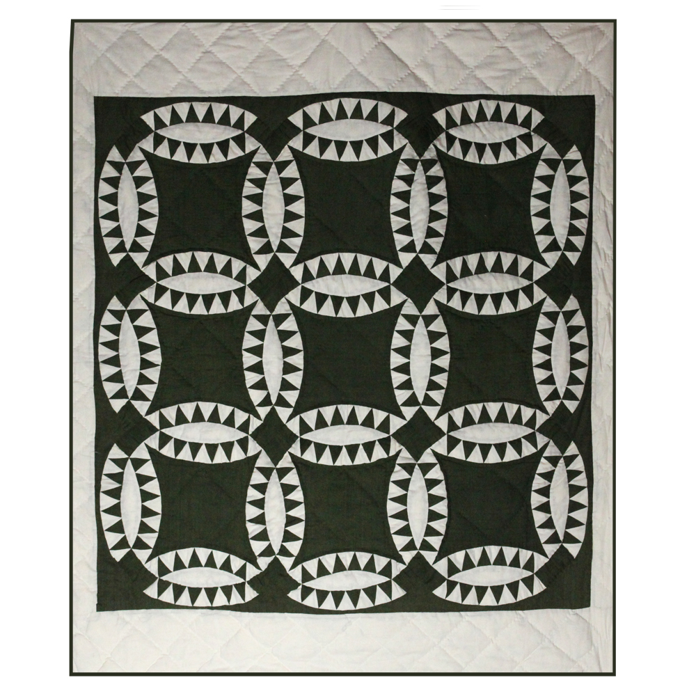 "Green and white Wedding Ring Throw 50""W x 60""L"