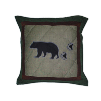 "Bear Trail patchwork toss pillow 16""x 16"""