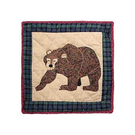 """Cabin Bear Toss Pillow 16""""W x 16""""L"""