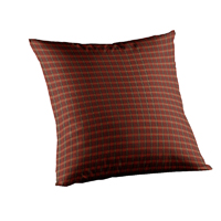 "Rustic Red Large Check Toss Pillow 16""W x 16""L,Ruffled"