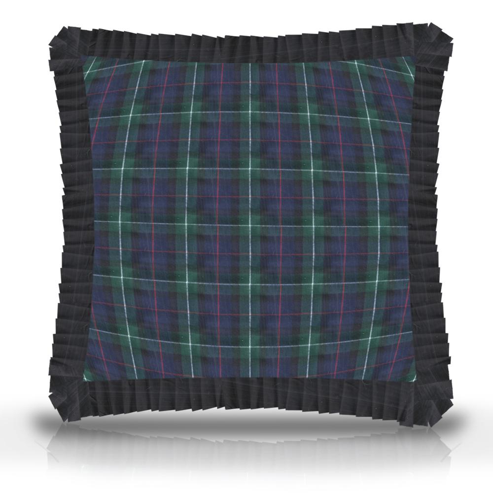 """Tartan Plaid,fabric toss pillow16""""w x 16""""l, ruffled"""