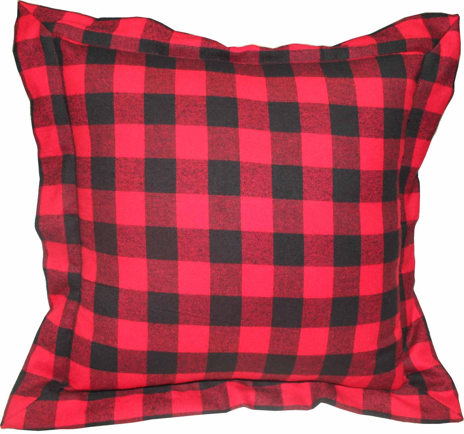 "Red and Black Twill Buffalo Check,Fabric Toss Pillow 16""W x 16""L,Flanged"