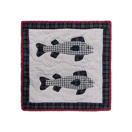 "Cabin Fish Toss Pillow 16""W x 16""L"