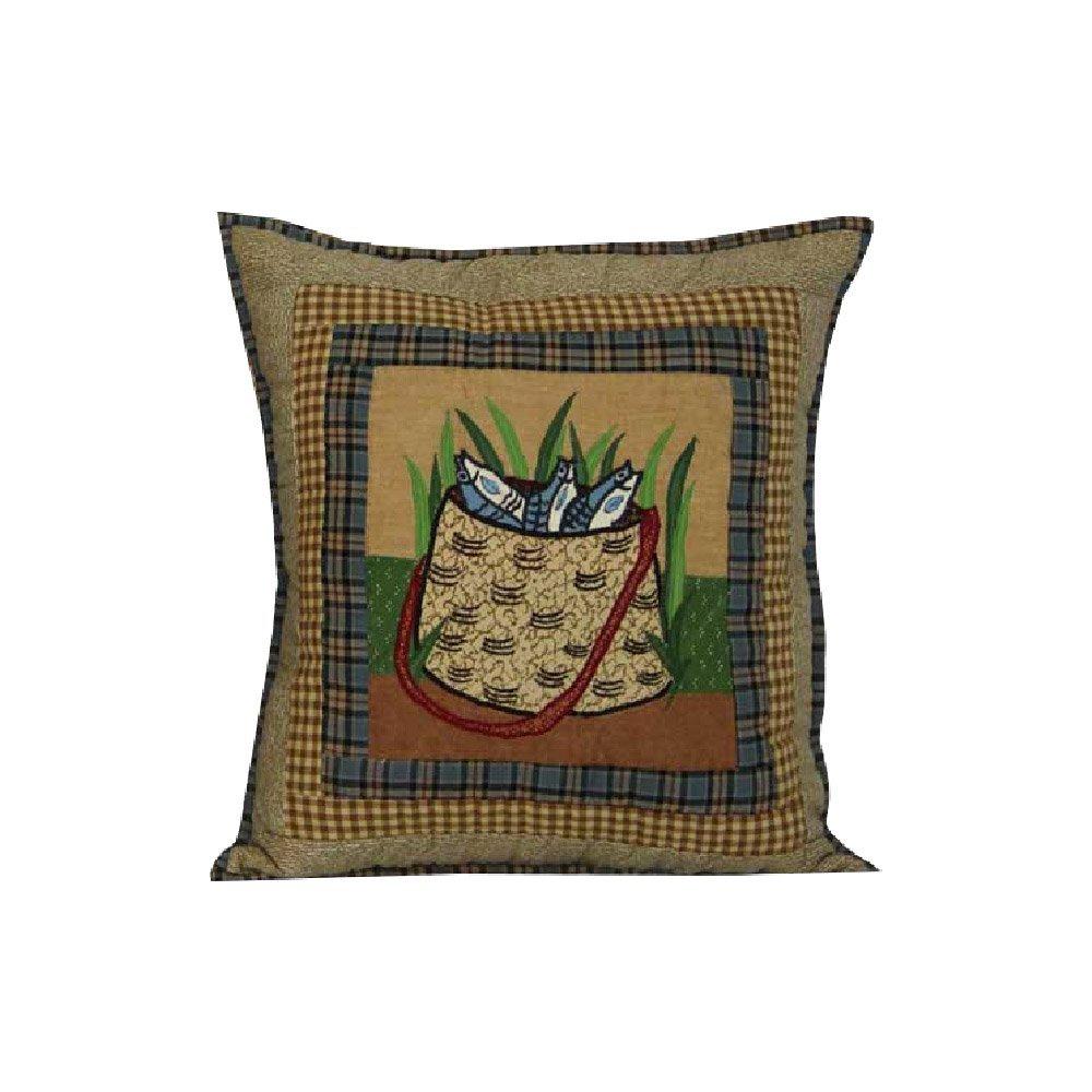 "Gone Fishing Bag Toss Pillow 16""W x 16""L"