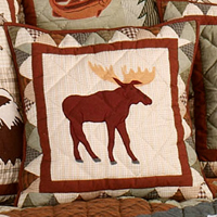 "Mountain Whispers Moose Toss Pillow 16""W x 16""L"