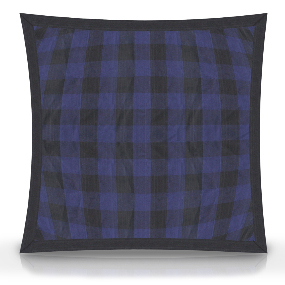 """Blue and Black Twill Buffalo Check,fabric Toss Pillow 16""""W x 16""""L, Flanged"""