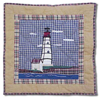 "By the Bay Red Lighthouse Toss Pillow 16""W x 16""L"