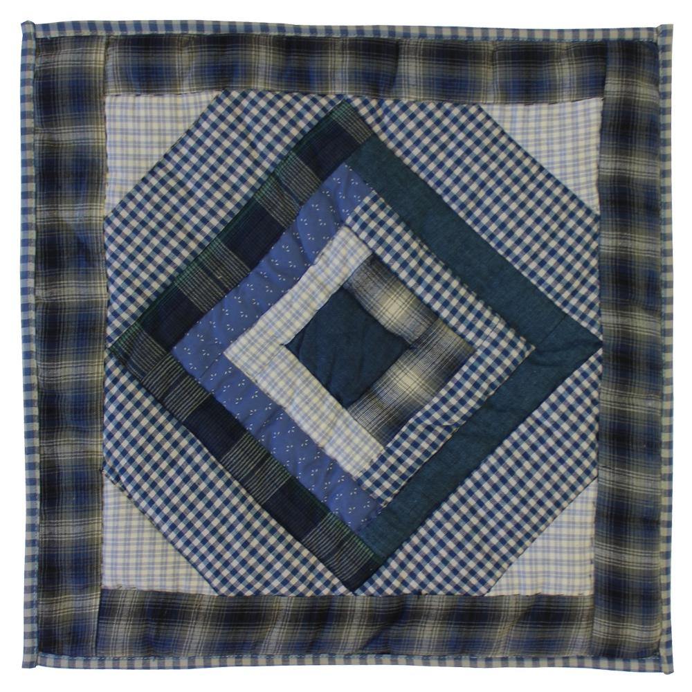 """Blue Log Cabin Toss Pillow 16""""W x 16""""L"""