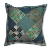 "Chambray Nine Patch Toss Pillow 16""W x 16""L"