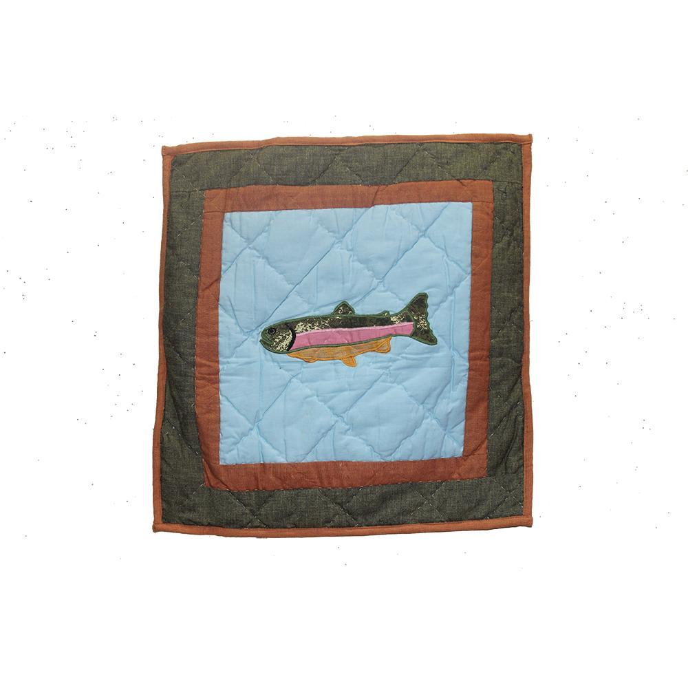 """Fish Trail Toss Pillow 16""""W x 16""""L"""