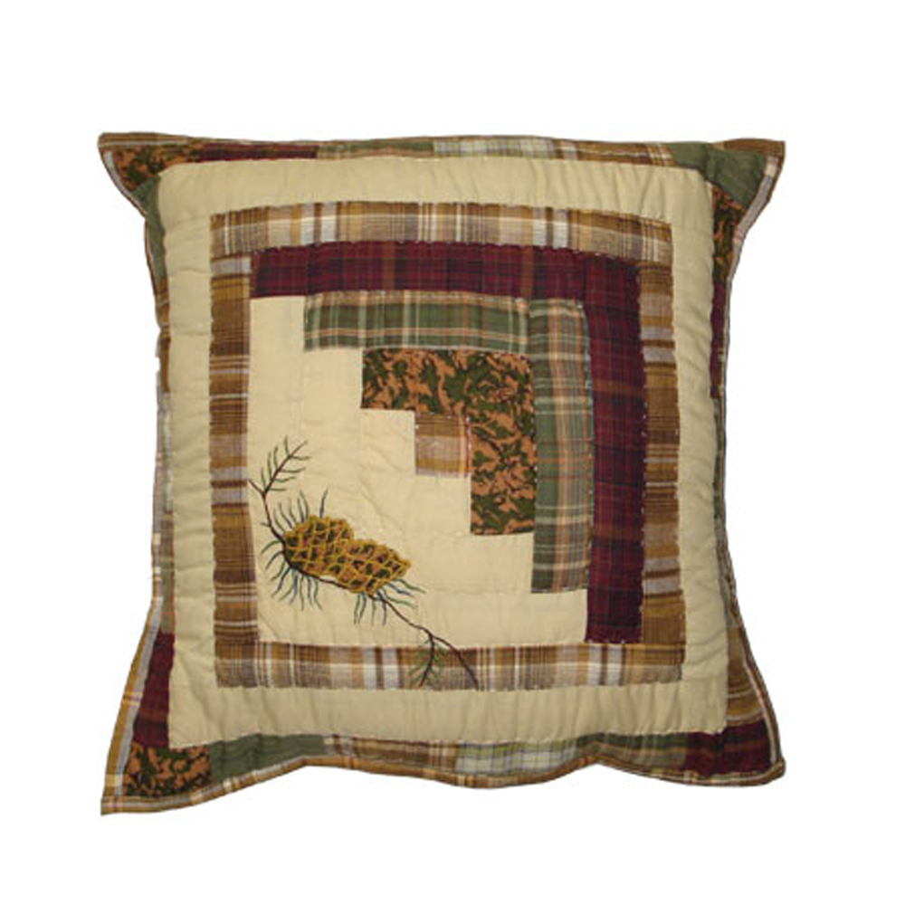 "Forest Log Cabin Toss Pillow 16""W x 16""L"
