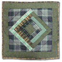 "Green Log Cabin Toss Pillow 16""W x 16""L"