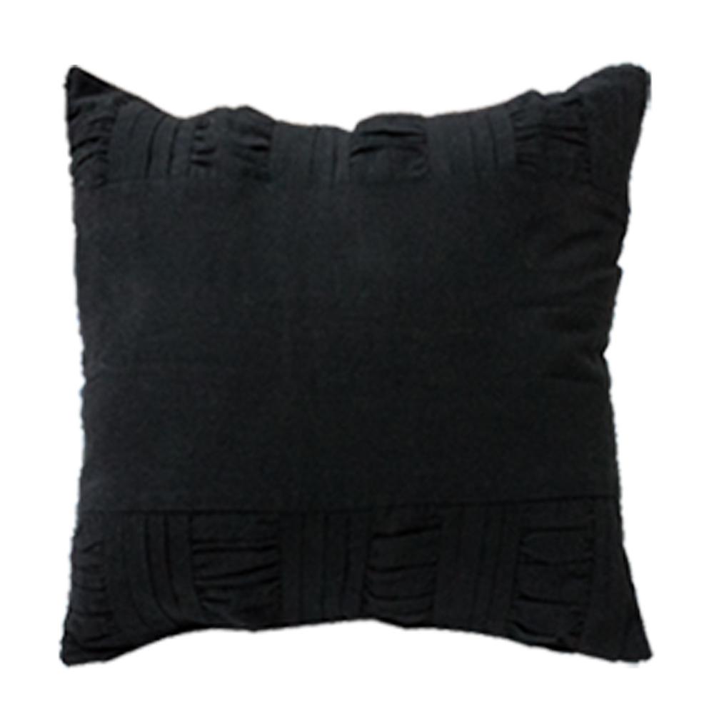 """Black Pintuck Toss Pillow 16"""" W X 16"""" L"""
