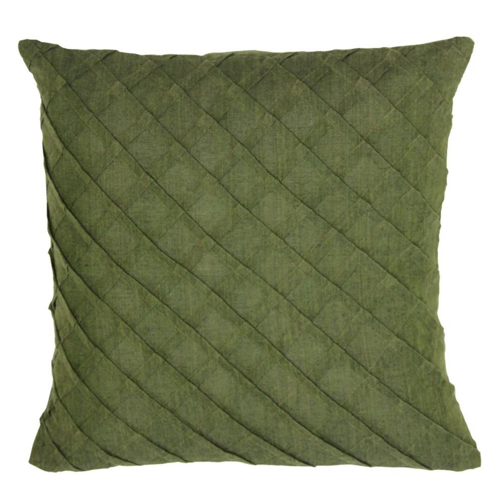 """Green Pintuck Toss Pillow 16"""" W X 16"""" L"""