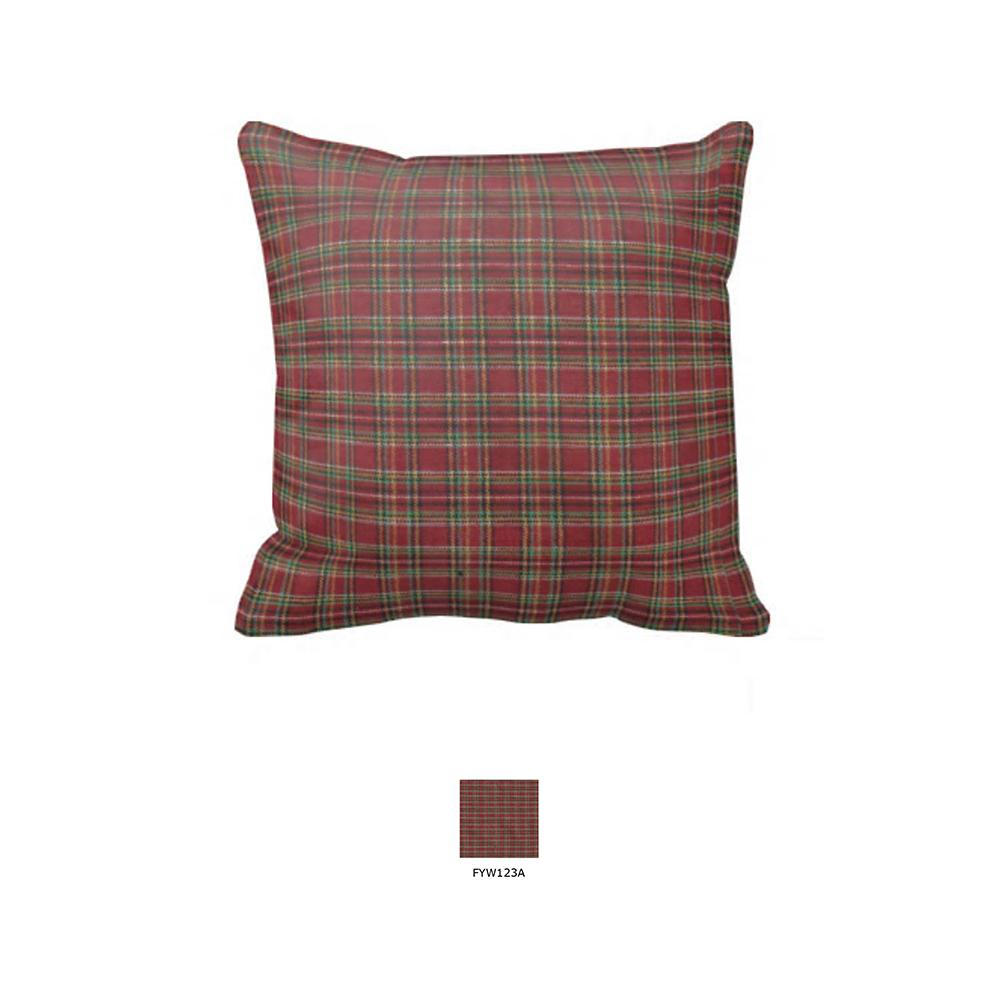 "Red Check Plaid Toss Pillow 16""W x 16""L"