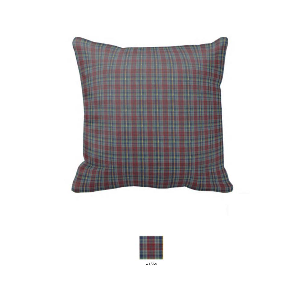 "Burgundy Plaid Toss Pillow 16""W x 16""L"
