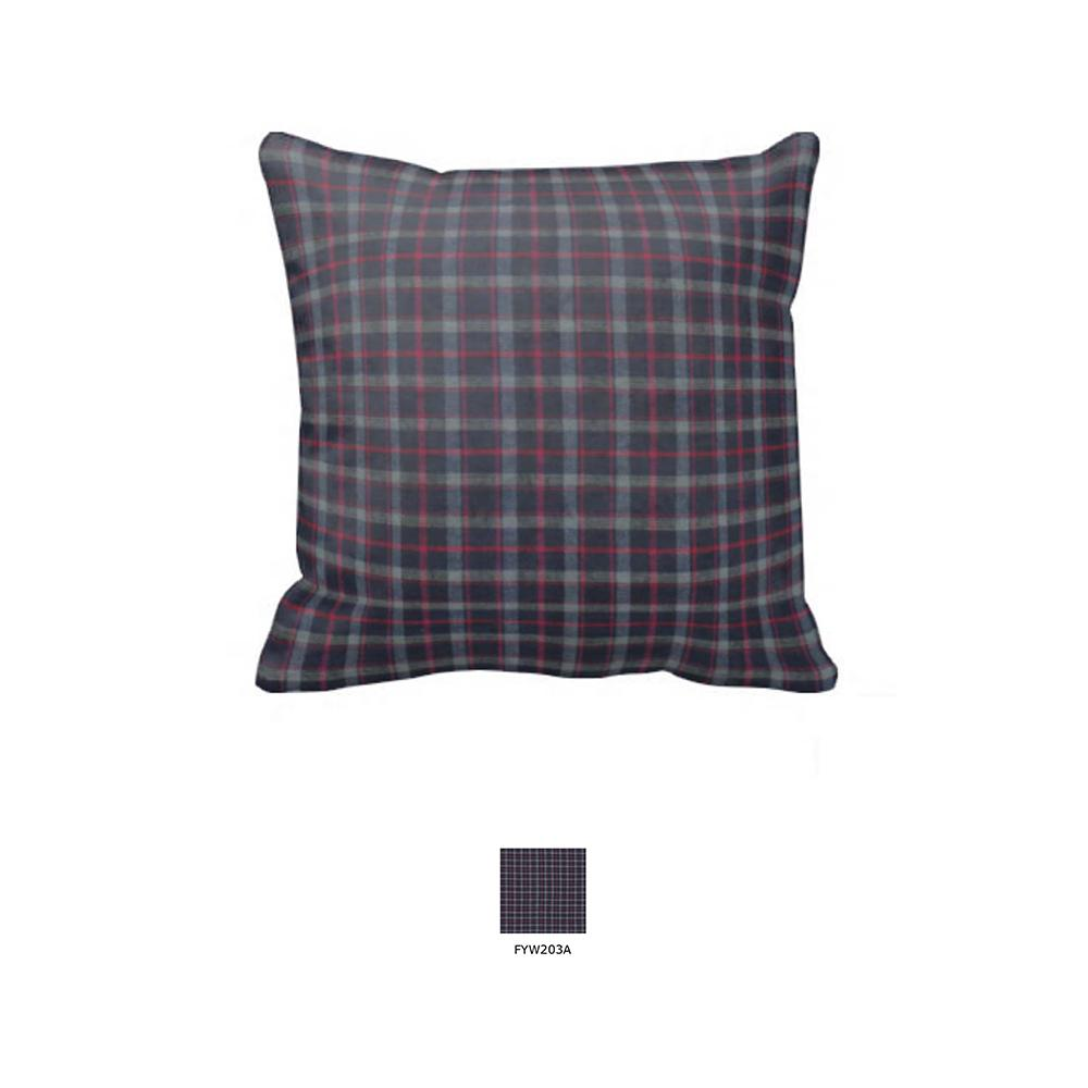 "Grey and Navy Blue Plaid Toss Pillow 16""W x 16""L"