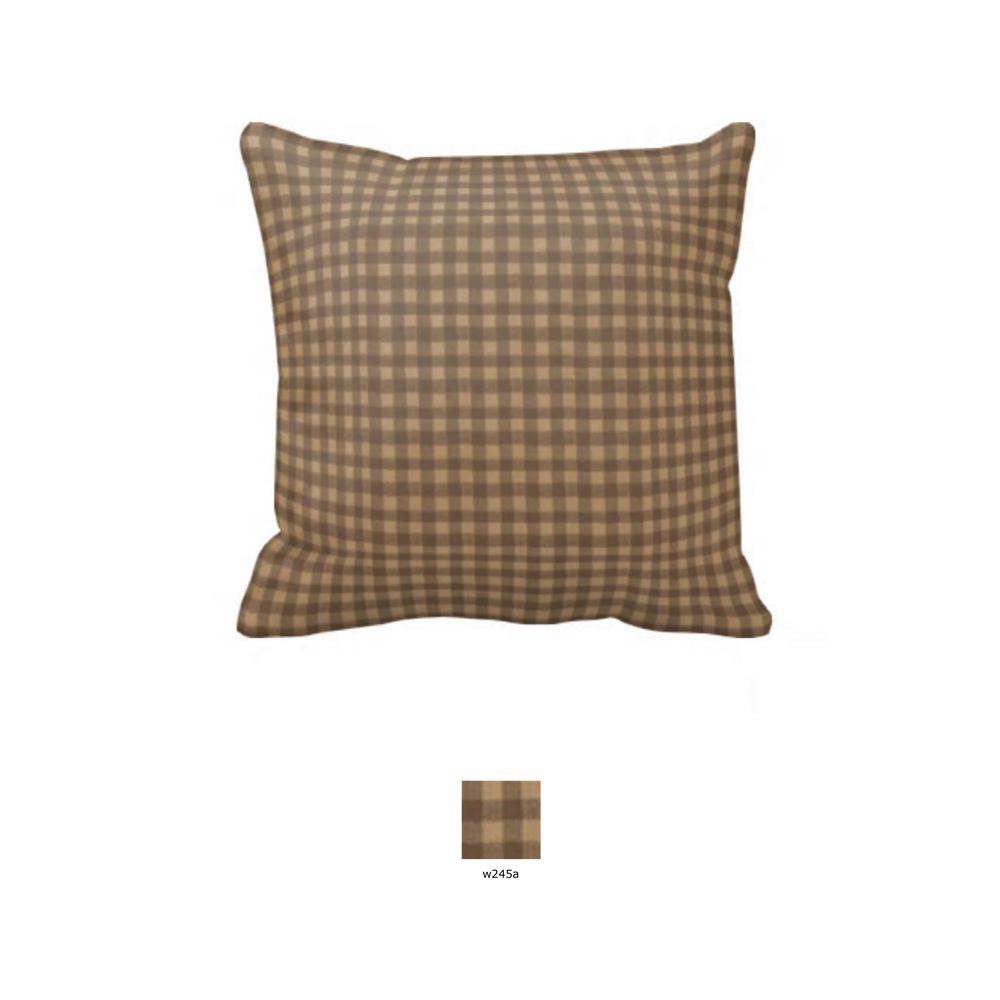 """Brown and Gold Gingham Toss Pillow 16""""W x 16""""L"""