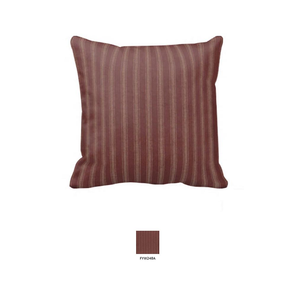 "Tea Dye Stripes with Red Toss Pillow 16""W x 16""L"